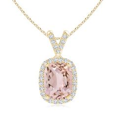Mother's Day Jewelry Necklace - Cushion Cut Morganite Halo Pendant Necklace with Diamond Accents in 14K Yellow Gold (9x7mm Morganite) - SP0845MGD-YG-AA-9x7 #cushioncutdiamonds