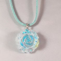 Blue Frosted Rose Necklace