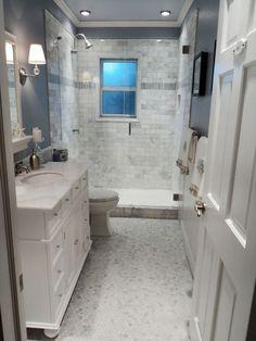 Basement Bathroom layout. Love the grey tile.