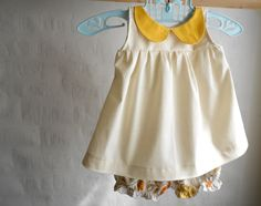 Christmas Dress Baby Girl clothes outfit Organic Peter Pan collar Top and Bloomers- newborn, 0-3m.