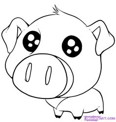 Cute Drawings Of Animals | How to Draw a Cute Pig, Step by Step, anime animals, Anime, Draw ...
