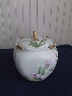 Circa 1894 Porcelain Tea Caddy Biscuit Jar Signed Hand-painted T & V France Antique Kitchen Ware, Tea Caddy, Fine China, China Porcelain, Ruby Lane, Getting Old, Etsy Vintage, Tea Time, Jars