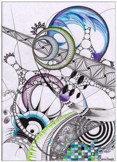 Doddles and Color Zentangle Drawings, Doodles Zentangles, Zentangle Patterns, Doodle Drawings, Doodle Art, Tangle Art, Zen Art, Mandala Art, Medium Art