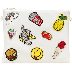 WHITE Food Is My Friend Flat Patch Clutch ($23) ❤ liked on Polyvore featuring bags, handbags, clutches, white, white handbags, white purse, flat purse, strap purse and patch purse