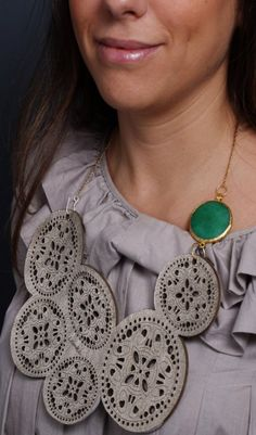 Genuine Leather Necklace With Green Gemstone by LemkaB on Etsy, $65.00