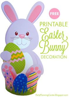 FREE Printable Easter Bunny Decoration Template | Can be made as a 2D wall hanging or turned into a 3D table decoration by using the included easy to make stand   #Easter #EasterBunny #FreePrintables #CarlaChadwick