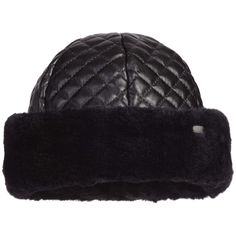 20f0a7f0a8c Girls Black Padded Hat with Synthetic Fur Trim