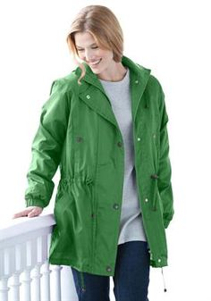 Woman Within Women's Plus Size Jacket Anorak In Weather-Resistant