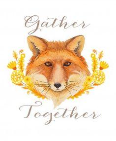 "Fall ""Gather Together"" fox free printable"