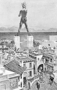 The Colossus of Rhodes Island, Greece. Old Wonders of the World. Greek History, Ancient History, Roman History, Ancient Rome, Ancient Greece, Ancient Architecture, Art And Architecture, Greek Sun God, Mausoleum At Halicarnassus