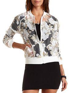 Floral Organza Bomber Jacket: Charlotte Russe