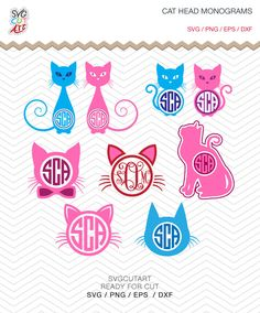Cat Head Monogram Frames SVG DXF PNG eps decal animal pet nature Cut File for Cricut Design, Silhouette studio, Sure A Lot, Makes the Cut by SvgCutArt on Etsy