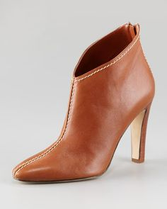 Macaofac Leather Contrast-Topstitched Ankle Boot by Manolo Blahnik at Neiman Marcus. $865.00