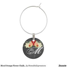 Blood Orange Flower Chalkboard Wedding Wine Charm