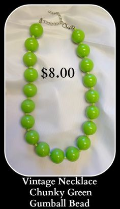 Vintage Necklace Chunky Green