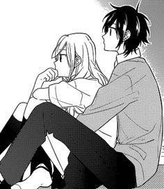 Boy sitting down - Side Look Drawing - Manga Cute Couple Drawings, Anime Couples Drawings, Anime Couples Manga, Cute Anime Couples, Manga Anime, Anime Amor, Horimiya, Namaikizakari, Manga Cute