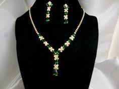Vintage Necklace Earring Set Emerald Green Rhinestone signed NY by Ladysfancys on Etsy