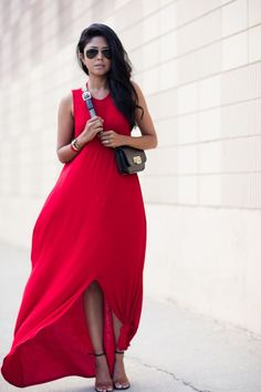 red dress + black and nude heels