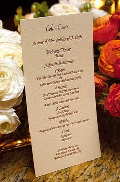 Love this idea - instead of doing assigned seating cards, put on menu! Wedding Invitations, Place Cards and Name Cards, Menus, Programs || Colin Cowie Weddings