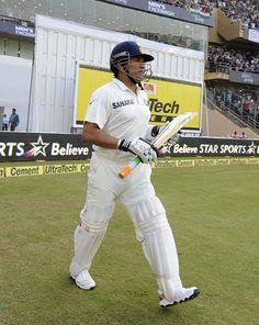 Sachin Tendulkar walks out to bat in his final Test