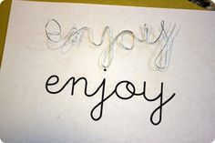 How to make wire letters...they show them as gift tags, very cute.