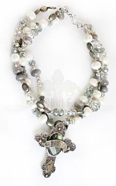 Gypsy Soule Labadorite, Fresh Water Pearls, Pyrite and Crystal Beaded GYPSY cross Necklace  $289.95  http://www.giddyupglamouronline.com/catalog.php?item=6285