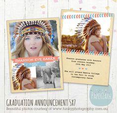 Graduation Announcement Template  Photoshop by PaperLarkDesigns, $8.00