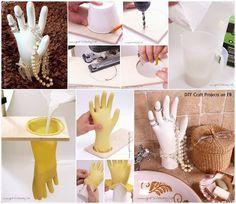 Creating hand model crafts jewellery display, diy home decor Diy Craft Projects, Fun Crafts, Diy And Crafts, Projects To Try, Arts And Crafts, Concrete Crafts, Concrete Projects, Diy Y Manualidades, Jewellery Display