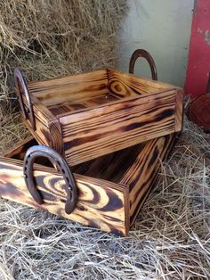 Horse Office or Bedroom --- You can get an unstained wood box similar to this at craft stores like AC Moore and Micheals... Stain or paint it to work with your office or room (or, leave as is) and add horseshoes as handles. #WesternDecor