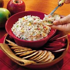 "Chicken Salad ~ Shredded chicken, chopped bell pepper and water chestnuts make this chicken salad distinctive and help it earn its popularity as a ""go-to"" chicken salad recipe. Prep: 30 min., Cook: 40 min., Stand: 15 min., Chill: 4 hrs."