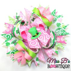 St Patricks Day Inspired Hair Bow www.facebook.com/missbsbowtique05 for weekly auctions and more!