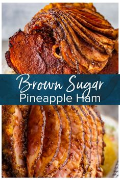 This Brown Sugar Pineapple Ham is the perfect Easter Ham recipe! - This Brown Sugar Pineapple Ham is the perfect Easter Ham recipe! We made a delicious cola and brown - Best Thanksgiving Recipes, Easter Recipes, Holiday Recipes, Christmas Ham Recipes, Thanksgiving Sides, Holiday Appetizers, Easter Ham Recipes Pineapple, Sides For Ham Dinner Christmas, Pineapple Ham Crockpot