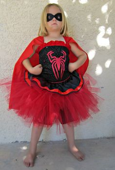 Spider Girl tutu costume Including cape, tutu, corset style top and black mask for Halloween or Superhero birthday party wear