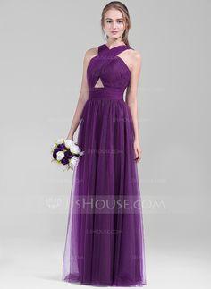 A-Line/Princess V-neck Floor-Length Ruffle Zipper Up Regular Straps Sleeveless No Grape Spring Summer Fall General Plus Tulle Bridesmaid Dress