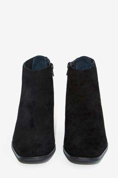 Jeffrey Campbell Soulman Boot - Black Suede - Ankle | Heels | Shoes