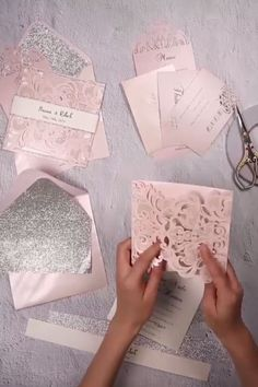 Silver Glittered Blush and Silver Laser Cut Wedding Invites EWTS010