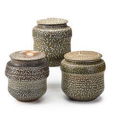 "KAREN KARNES (b. 1925)Three salt-glazed stoneware covered vessels, Stony Point, NY, 1970s; All with chopmark KK; Largest: 8"" x 6 3/4"""