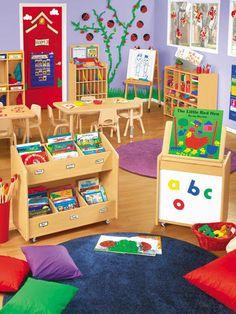 Preschool furniture: 3 must-have pieces kids rugs, preschool furniture, home decor Preschool Classroom Layout, Preschool Rooms, Toddler Classroom, Preschool At Home, Classroom Design, Classroom Setting, Classroom Decor, Toddler Daycare Rooms, Daycare Setup