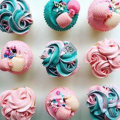 Cotton candy cupcakes with piña colada chocolate pineapples.