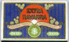 EXTRA HAVANNA cigarcigarett No 209 tillverkad av Svenska Tobaksmonopolet 1915 -1943