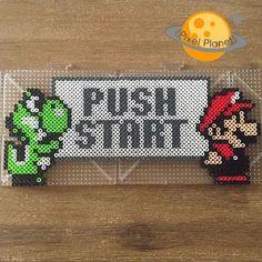 Push Start - Mario perler beads by pixel_planet_ Mais