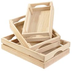 Natural wooden crates with cut out side handles. The largest crate measures and the smallest measures Try using these for trendy gift containers! Wooden Crates Gifts, Wooden Crate Boxes, Wooden Basket, Wood Crates, Wooden Diy, Wood Projects, Woodworking Projects, Pallet Kitchen Cabinets, Diy Gift Baskets