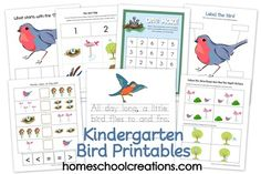 Kindergarten Bird Printables from Homeschool Creations include labeling a bird, less/more, syllable counting, roll one more/less, and following directions. Also links to two additional printable packs focused toward preschool ages.