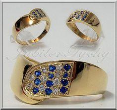 Złoty pierścionek Cyrkonie Szafiry Jubiler Tychy
