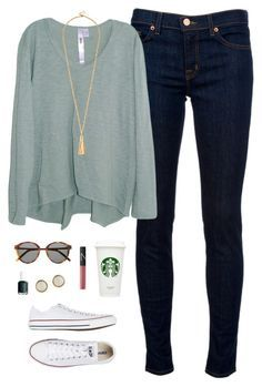 """""""sweater time of year"""" by classically-preppy ❤ liked on Polyvore featuring J Brand, Wilt, Converse, Yves Saint Laurent, NARS Cosmetics, Essie and Hermès"""