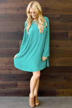 Jade Chiffon Bell Sleeve Dress