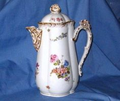 RARE-LIMOGES-FLOWER-HANDLE-CHOCOLATE-POT-FLORAL-SPRAY-COFFEE-TEAPOT