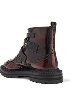Burberry - Everdon Buckled Ombré Leather Ankle Boots - Merlot