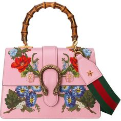 Gucci Dionysus Embroidered Leather Top Handle Bag ($3,800) ❤ liked on Polyvore featuring bags, handbags, light pink, structured leather handbags, genuine leather purse, leather purses, bamboo handle handbag and floral leather purse