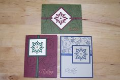Various greeting cards using the same crest rubber stamp to create different looks by Michelle Dixon, Stampin' Up!